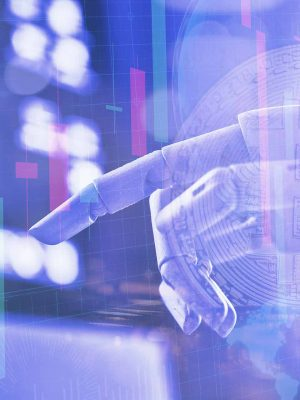 A robotic mechanical arm pointing with index finger touching virtual user interface. Hero image for Robo Advisor article.